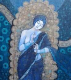 Apurba Karati | Acrylic Painting title Sadhana 2 on Canvas | Artist Apurba Karati Gallery | ArtZolo.com