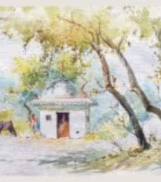 Landscape Watercolor Art Painting title Temple by artist Swapnil Mhapankar