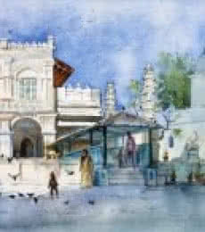 Cityscape Watercolor Art Painting title Babulnath temple by artist Swapnil Mhapankar
