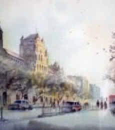 Cityscape Watercolor Art Painting title 'Elphinstone College' by artist Swapnil Mhapankar