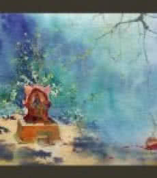 Landscape Watercolor Art Painting title 'Tulsi vrindavan' by artist Swapnil Mhapankar