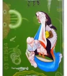 Mahesh Pal Gobra | Acrylic Painting title Mother & Child II on canvas | Artist Mahesh Pal Gobra Gallery | ArtZolo.com