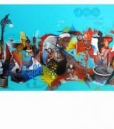 Mahesh Pal Gobra | Acrylic Painting title Rahagiri Day on canvas | Artist Mahesh Pal Gobra Gallery | ArtZolo.com