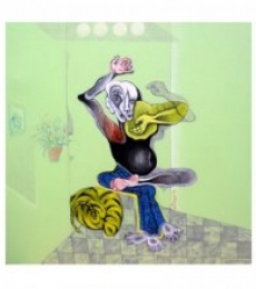 Folk Art Acrylic Art Painting title The Man by artist Mahesh Pal Gobra