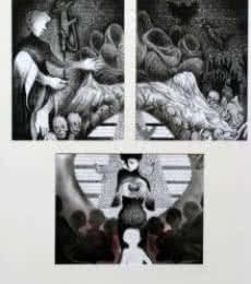 Figurative Charcoal Art Painting title 26 / 11 Bombay by artist Mahesh Pal Gobra