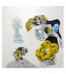 Mahesh Pal Gobra | Acrylic Painting title The Women on canvas | Artist Mahesh Pal Gobra Gallery | ArtZolo.com
