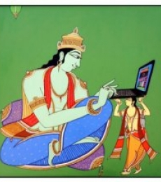 Figurative Acrylic Art Painting title 'King using Laptop' by artist Shahed Pasha
