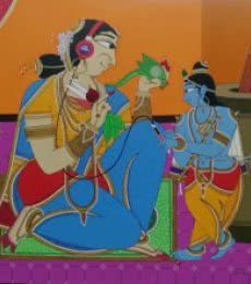 Shahed Pasha | Acrylic Painting title Krishna finding a song on Canvas | Artist Shahed Pasha Gallery | ArtZolo.com