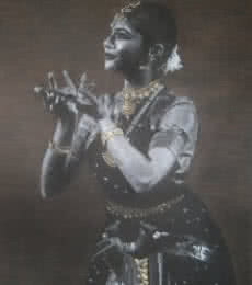 Realistic Charcoal Art Drawing title Bharatanatyam X by artist Sujith Puthran