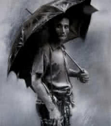 Realistic Charcoal Art Drawing title 'Rainyday' by artist Sujith Puthran