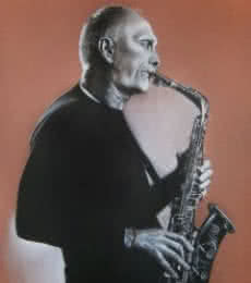 Charcoal Paintings | Drawing title Saxophone on Paper | Artist Sujith Puthran