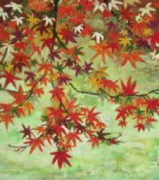 Landscape Tempera Art Painting title 'Maples In Autumn' by artist Madhu Jain