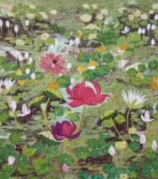 Madhu Jain | Tempera Painting title Moonlit Pond on handmade paper | Artist Madhu Jain Gallery | ArtZolo.com