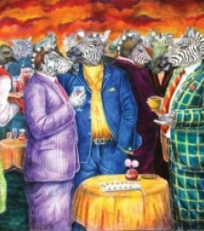 Lifestyle Mixed-media Art Painting title 'Pseudo Society' by artist Minal Rajurkar