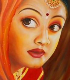 Expressive Lady | Painting by artist Abarna | oil | Canvas