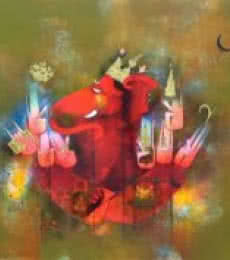 Religious Mixed-media Art Painting title 'Dev Gajanan' by artist Amol Pawar