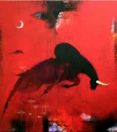 Animals Mixed-media Art Painting title 'Bull 4' by artist Amol Pawar