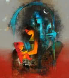 First Family 2 | Painting by artist Amol Pawar | mixed-media | canvas