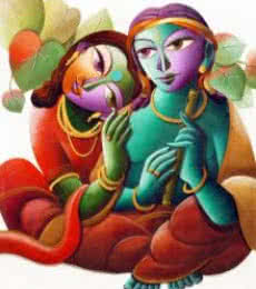 Radha With Krishna I | Painting by artist Dhananjay Mukherjee | acrylic | Canvas