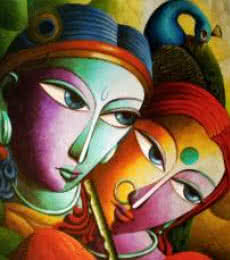 Radha With Krishna III | Painting by artist Dhananjay Mukherjee | acrylic | Canvas