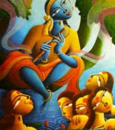 Dhananjay Mukherjee | Acrylic Painting title Krishna With Gopiyan on Canvas | Artist Dhananjay Mukherjee Gallery | ArtZolo.com