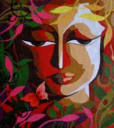 Religious Acrylic Art Painting title 'Krishna II' by artist Dhananjay Mukherjee