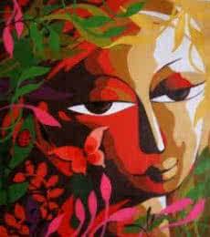Dhananjay Mukherjee | Acrylic Painting title Krishna III on Canvas | Artist Dhananjay Mukherjee Gallery | ArtZolo.com