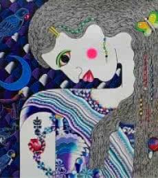 Ravi Kattakuri | Acrylic Painting title Ragini on Canvas | Artist Ravi Kattakuri Gallery | ArtZolo.com