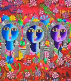 Figurative Acrylic Art Painting title 'Friends' by artist Ravi Kattakuri