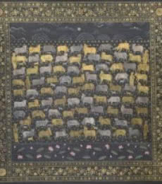 Religious Mixed-media Art Painting title Pichwai Cows by artist Pushkar Lohar Pichwai
