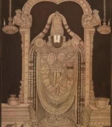Religious Mixed-media Art Painting title 'Tirupati Balaji Pichwai' by artist Pushkar Lohar Pichwai