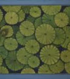 Pushkar Lohar Pichwai Paintings | Mixed-media Painting - Lotus Leaves Pichwai by artist Pushkar Lohar Pichwai | ArtZolo.com