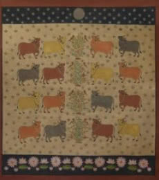 Religious Mixed-media Art Painting title Cows Pichwai by artist Pushkar Lohar Pichwai