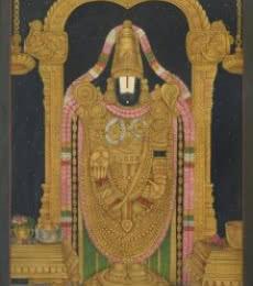 Tirupati Balaji Pichwai   Painting by artist Pushkar Lohar Pichwai   mixed-media   Cloth