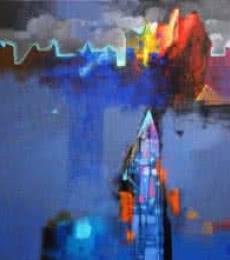 Abstract Acrylic Art Painting title 'Untitled' by artist Pradip Sengupta