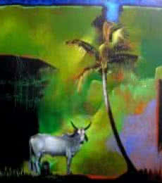 Animals Acrylic Art Painting title 'God Story' by artist Pradip Sengupta