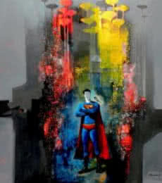 Pradip Sengupta | Acrylic Painting title Superman on Canvas | Artist Pradip Sengupta Gallery | ArtZolo.com