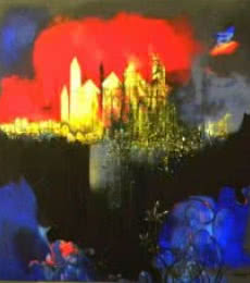 Abstract Acrylic Art Painting title 'Untitled 3' by artist Pradip Sengupta