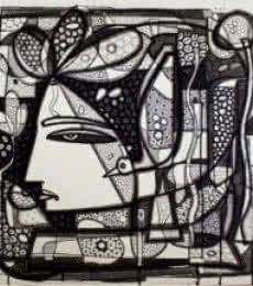 Figurative Ink Art Drawing title 'Untitled 11' by artist Girish Adannavar