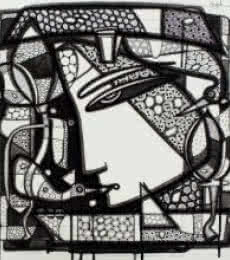 Ink Paintings | Drawing title Untitled 9 on Canvas | Artist Girish Adannavar