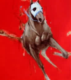 Animals Acrylic-oil Art Painting title 'Red And White' by artist Aditya Shirke