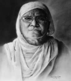 Portrait Charcoal Art Drawing title 'Grandmother' by artist Kulwinder Singh