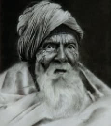 Portrait Charcoal Art Drawing title 'Old Man 1' by artist Kulwinder Singh