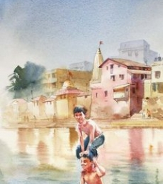 Landscape Watercolor Art Painting title 'Chilling in Banganga' by artist Vikrant Shitole