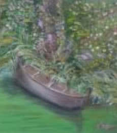 Seascape Oil Art Painting title Boat Series5 by artist Vidya Lakshmi