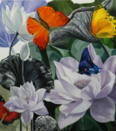 Landscape Oil Art Painting title 'Flower With Butterfly 9' by artist Sulakshana Dharmadhikari