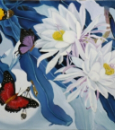 Landscape Oil Art Painting title Flower With Butterfly 11 by artist Sulakshana Dharmadhikari