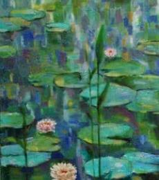 Landscape Oil Art Painting title 'Warer lily 4' by artist Sulakshana Dharmadhikari