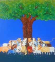 Other Mixed-media Art Painting title Cow by artist Mukesh Hattarge