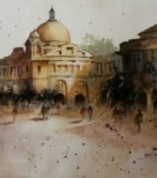 Cityscape Watercolor Art Painting title 'Old Architecture' by artist Atul Gendle
